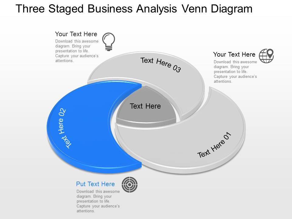 Apt Three Staged Business Analysis Venn Diagram Powerpoint Template