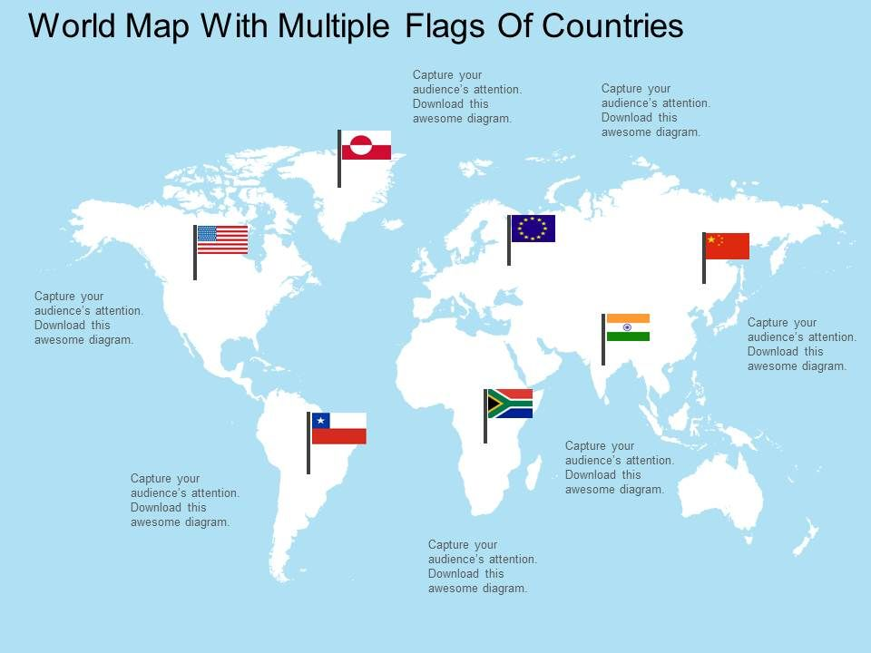 apt world map with multiple flags of countries flat powerpoint