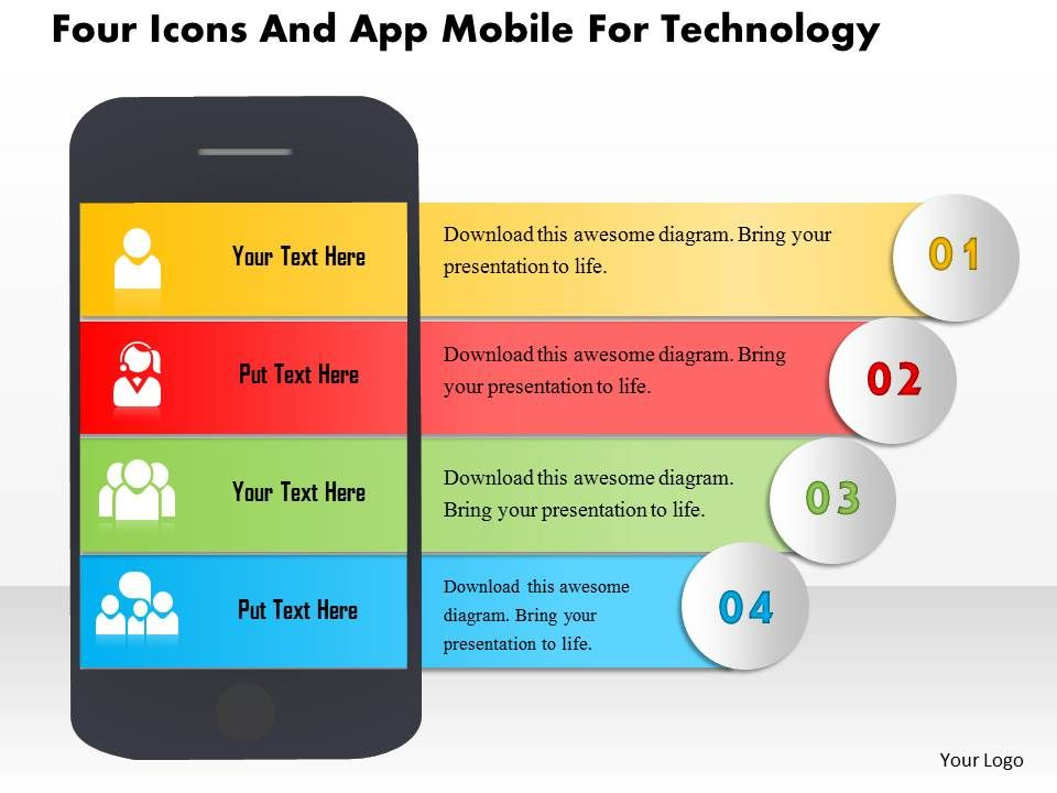 aq_four_icons_and_app_mobile_for_technology_powerpoint_templets_Slide01