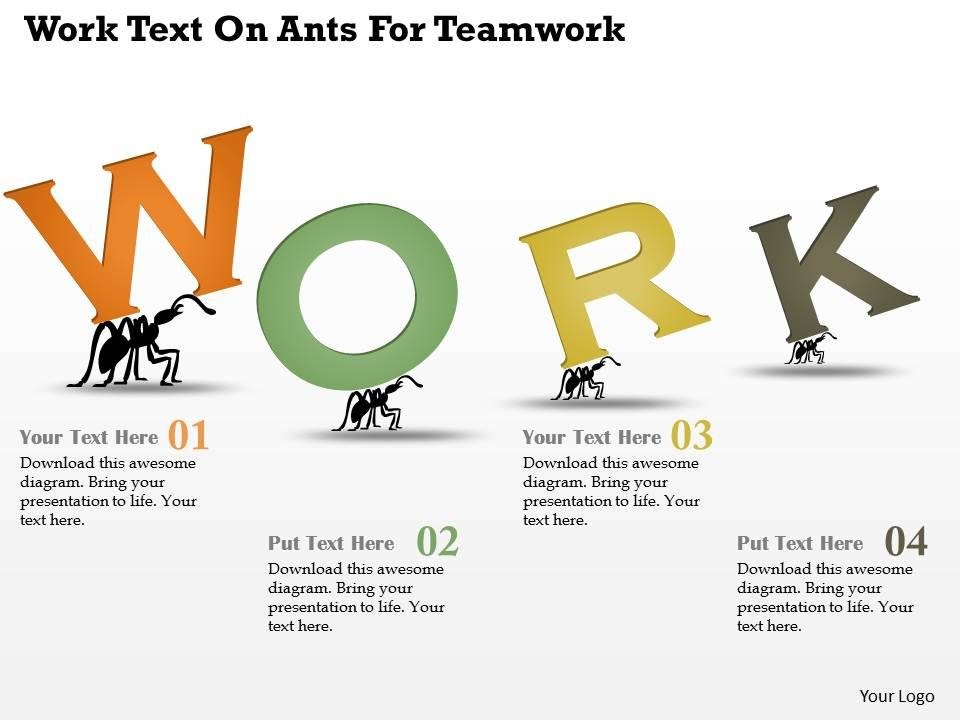 Ar Work Text On Ants For Teamwork Powerpoint Template | PowerPoint ...