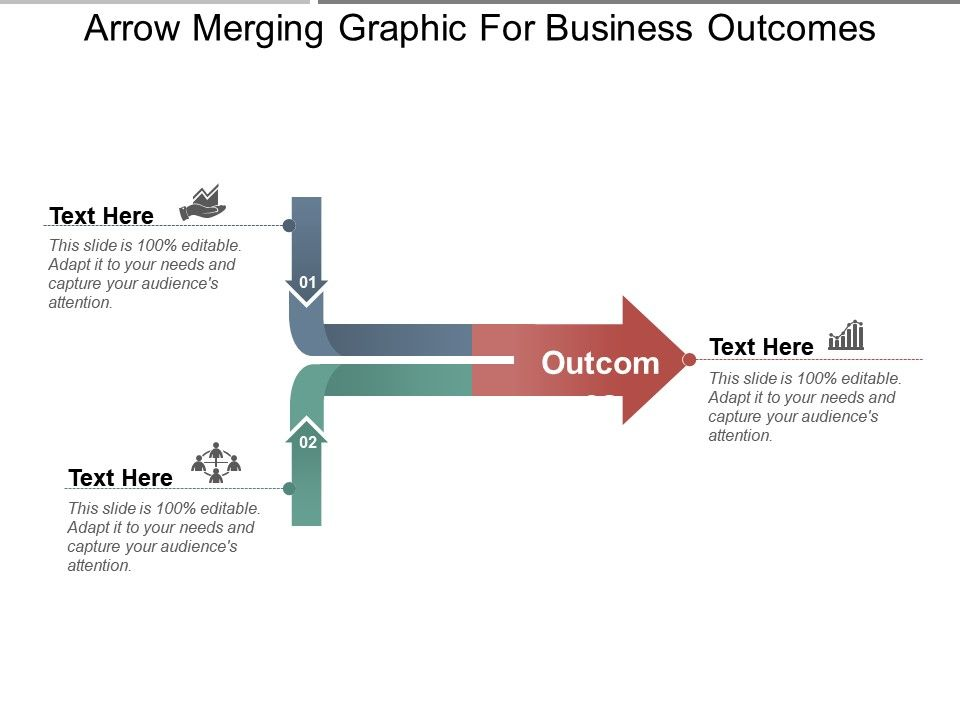 arrow merging graphic for business outcomes ppt samples powerpoint
