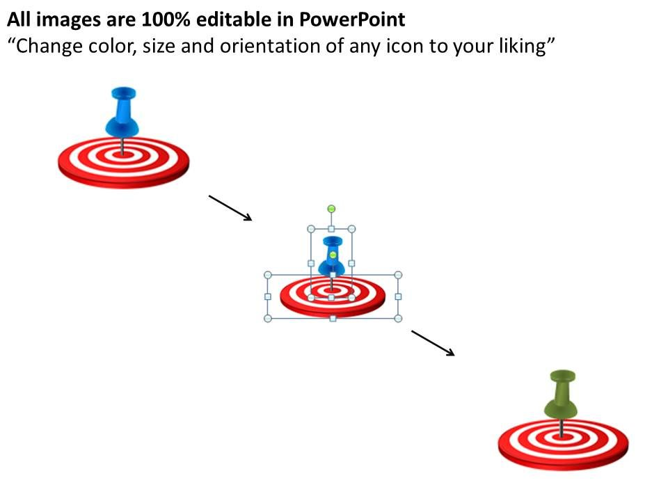 bullseye chart template - arrows pointing towards bullseye target powerpoint diagram