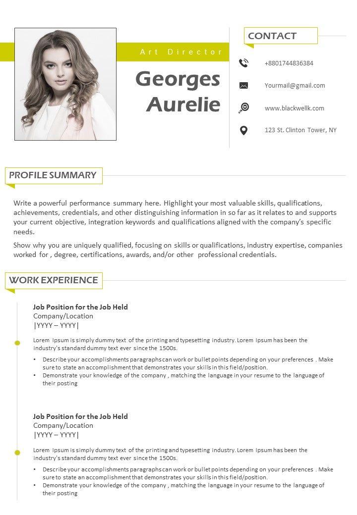 Art Director Professional Resume Cv Sample Template Powerpoint
