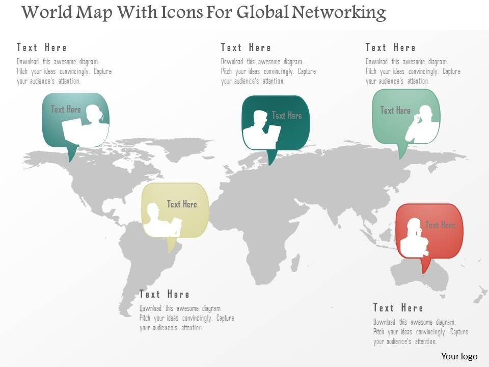 As World Map With Icons For Global Networking Powerpoint Template