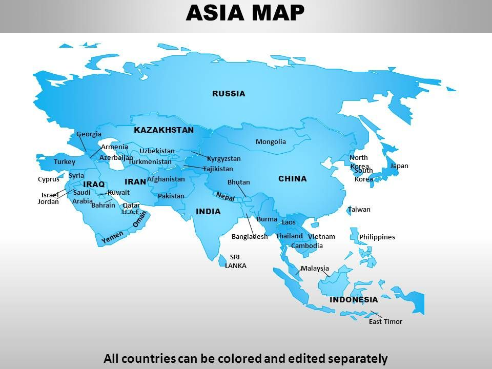 Map Of Asia Template.Asia Continents Powerpoint Maps Templates Powerpoint Slides Ppt
