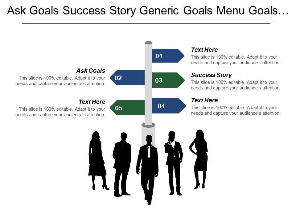 ask goals success story generic goals menu goals powerpoint slide