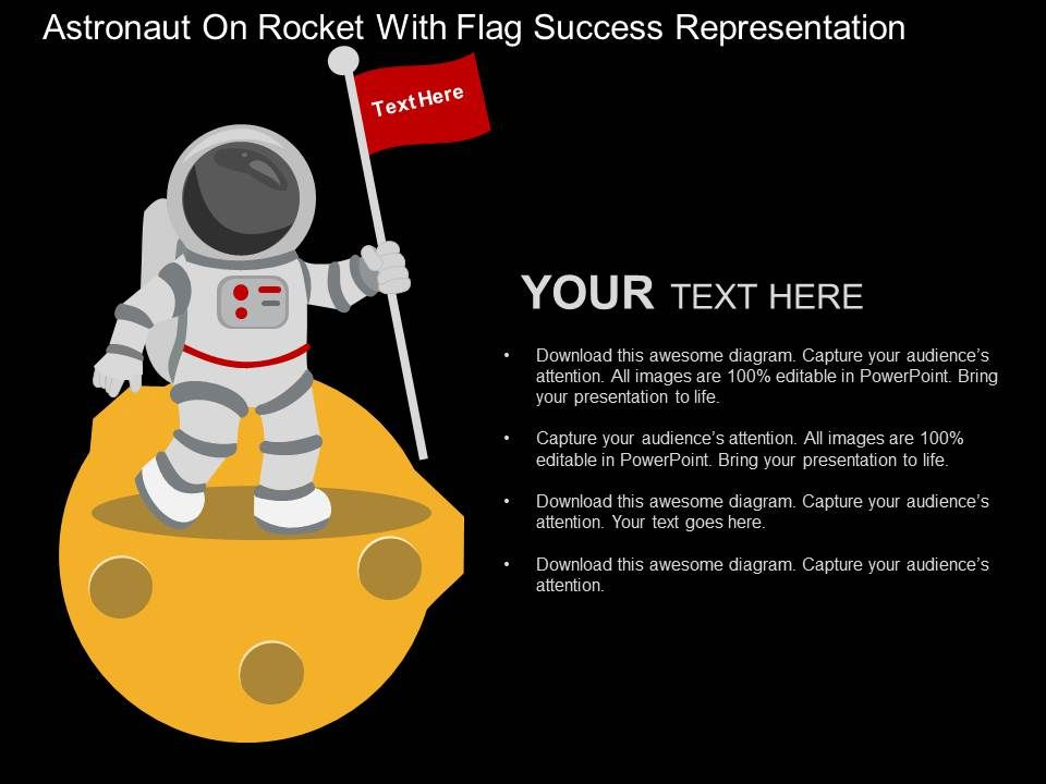 astronaut on rocket with flag success representation flat, Presentation templates
