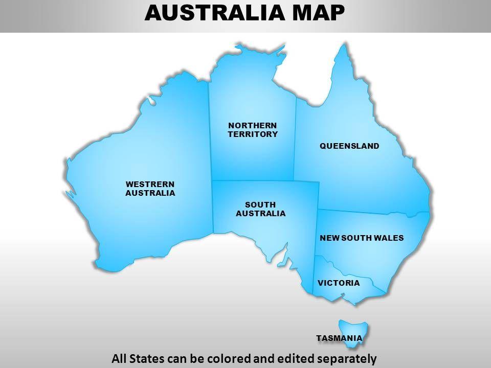 Australia Map Template.Australia Continents Powerpoint Maps Powerpoint Templates