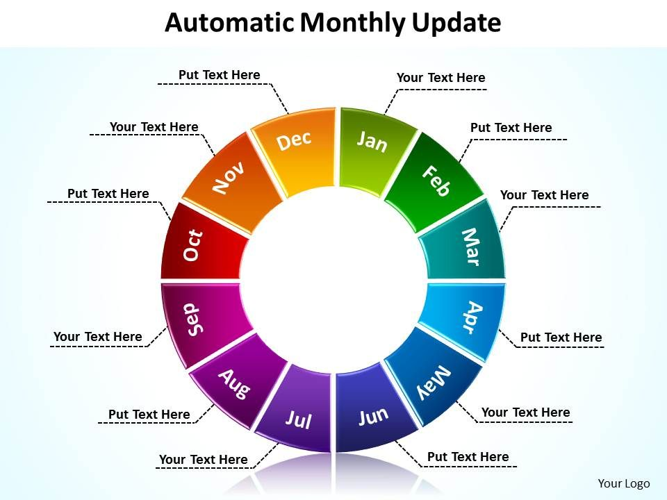 automatic monthly update with segmented pie chart powerpoint, Modern powerpoint