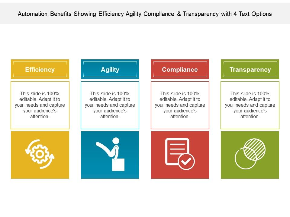 automation_benefits_showing_efficiency_agility_compliance_and_transparency_with_4_text_options_Slide01