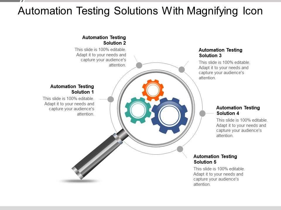 automation_testing_solutions_with_magnifying_icon_ppt_slides_Slide01