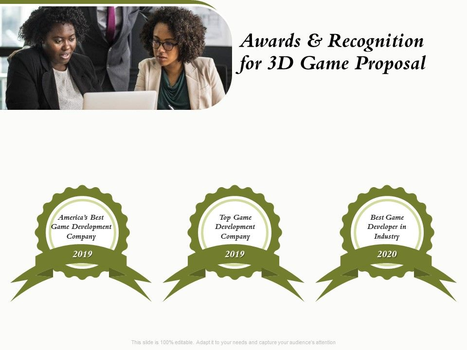 Awards And Recognition For 3D Game Proposal Ppt Powerpoint Presentation Gallery