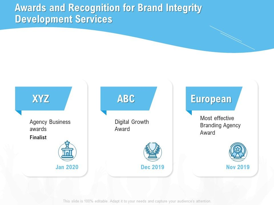 Awards And Recognition For Brand Integrity Development Services Ppt Presentation Pictures