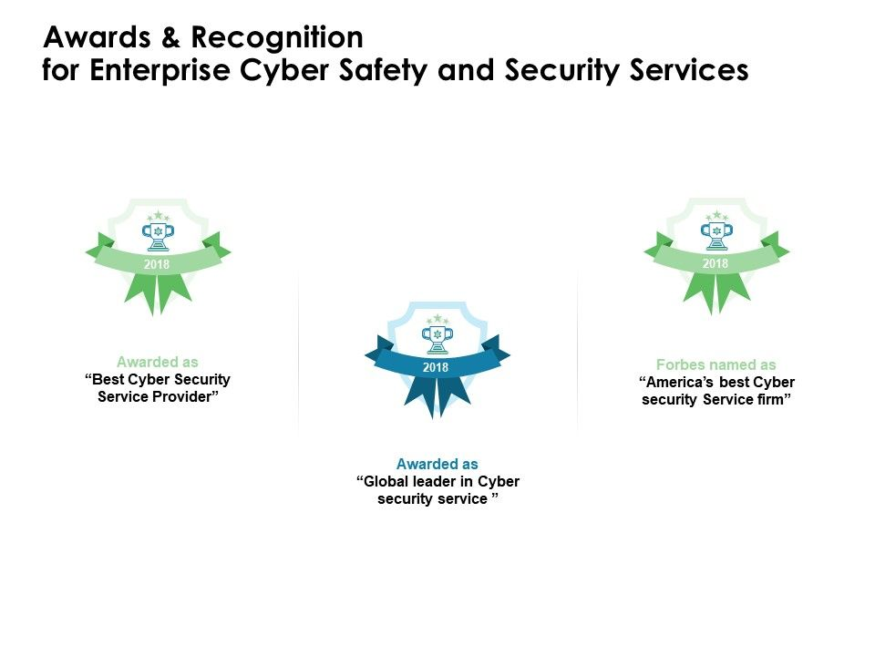Awards And Recognition For Enterprise Cyber Safety And Security Services Ppt Inspiration