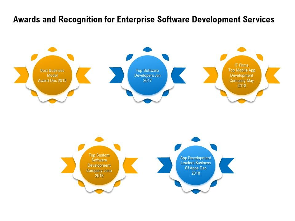Awards And Recognition For Enterprise Software Development Services Developers Ppt Powerpoint Good