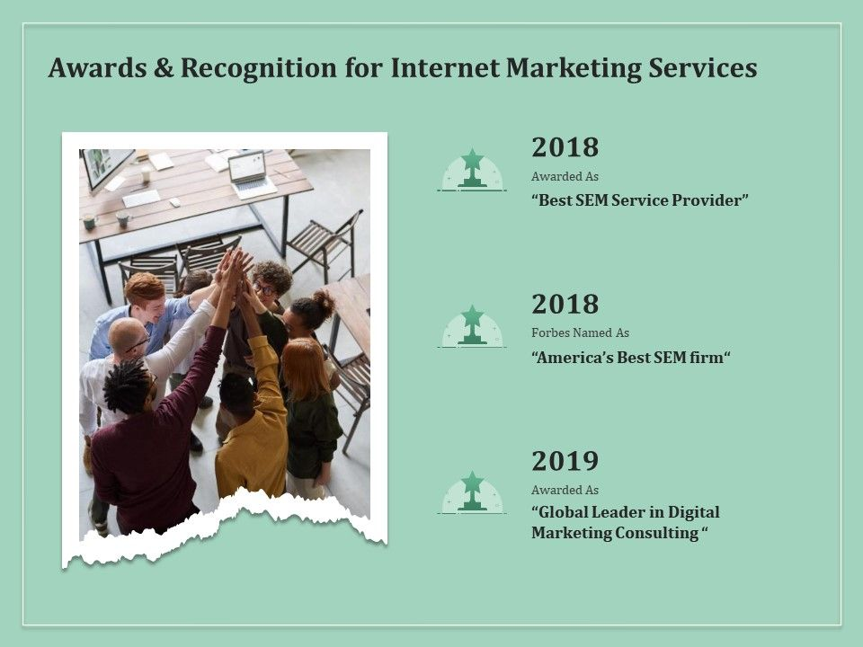 Awards And Recognition For Internet Marketing Services Ppt File Elements