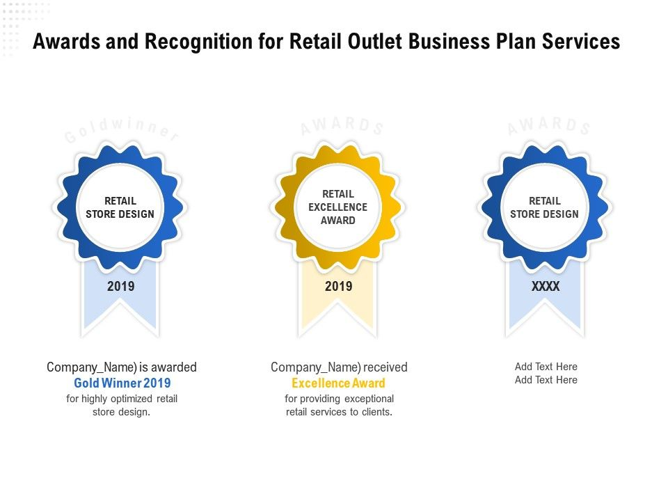 Awards And Recognition For Retail Outlet Business Plan Services Ppt Powerpoint Grid