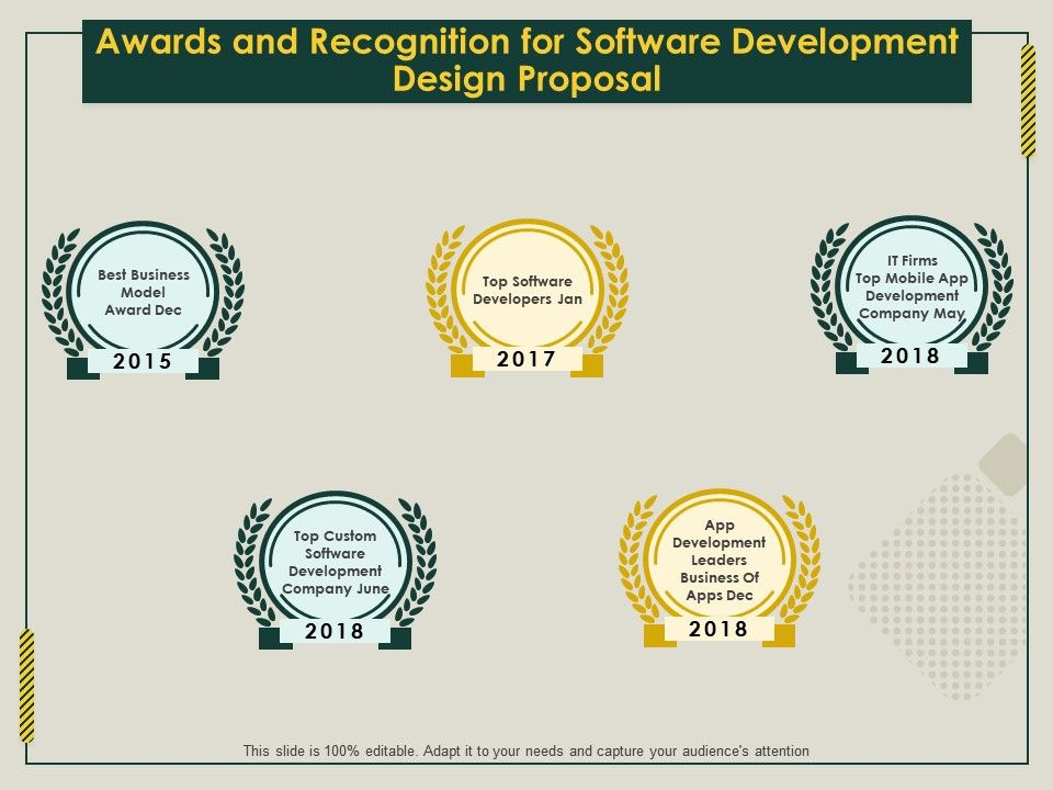 Awards And Recognition For Software Development Design Proposal Ppt File Design