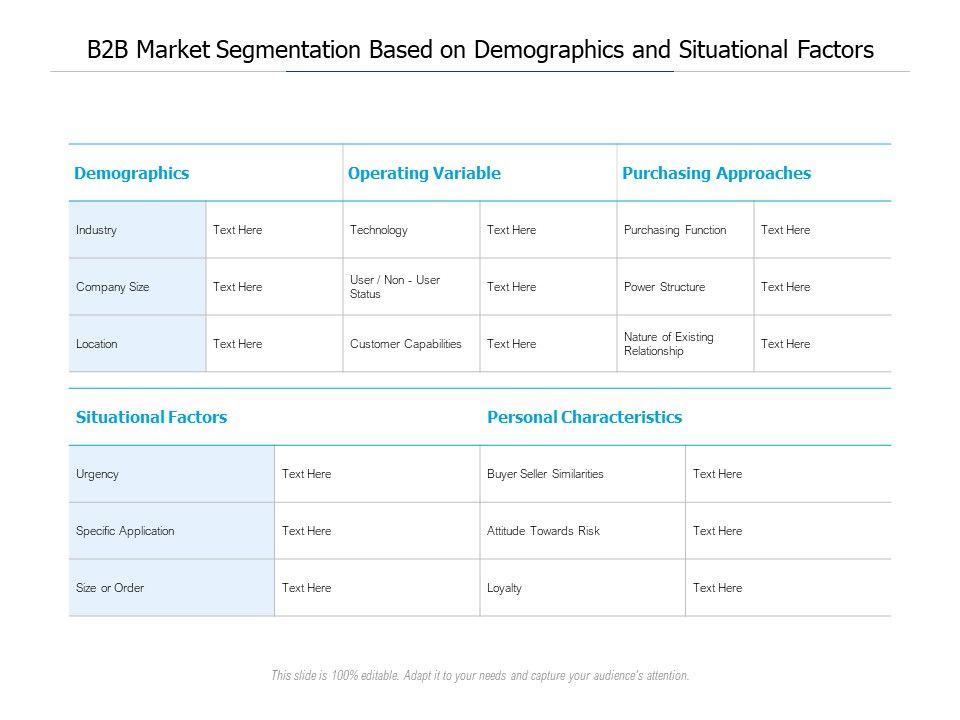 B2B Market Segmentation Based On Demographics And Situational Factors