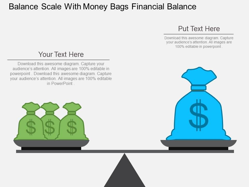 balance_scale_with_money_bags_financial_balance_flat_powerpoint_design_Slide01