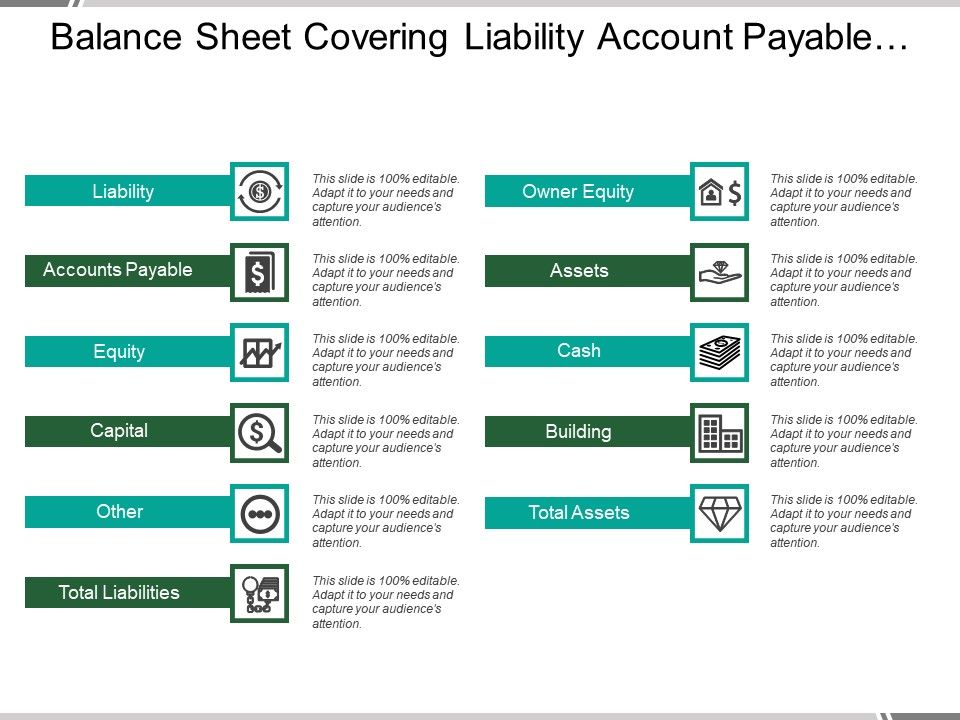 Balance Sheet Covering Liability Account Payable Capital