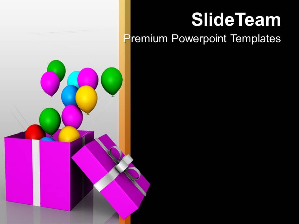 Balloons Coming Out Of Open Box Symbol Powerpoint Templates Ppt