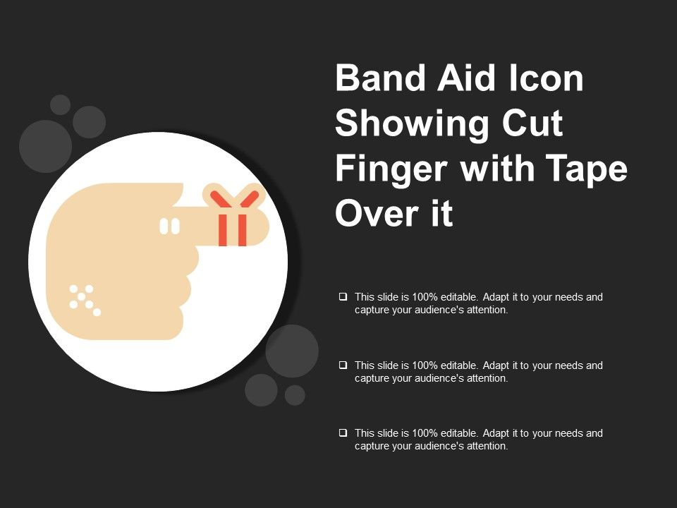 band aid icon showing cut finger with tape over it powerpoint