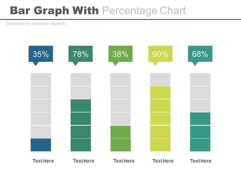 bar graph with percentage chart and icons powerpoint slides