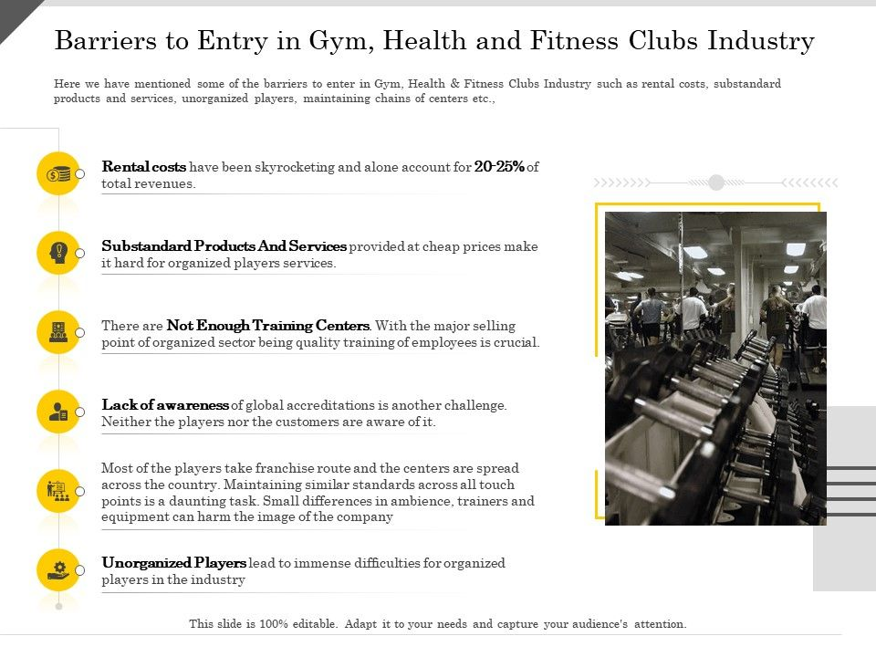 Barriers To Entry In Gym Health And Fitness Clubs Industry Ppt Powerpoint Presentation Layouts Infographic
