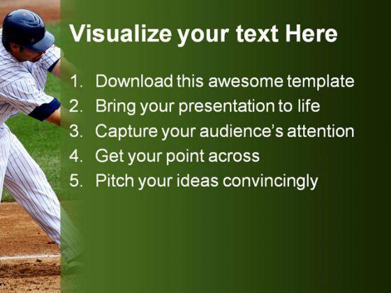 baseball sports powerpoint template 0610 graphics presentation