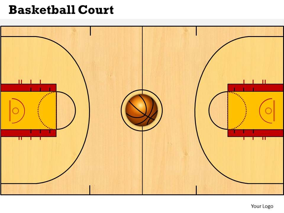 Basketball court powerpoint template slide for How much to make a basketball court