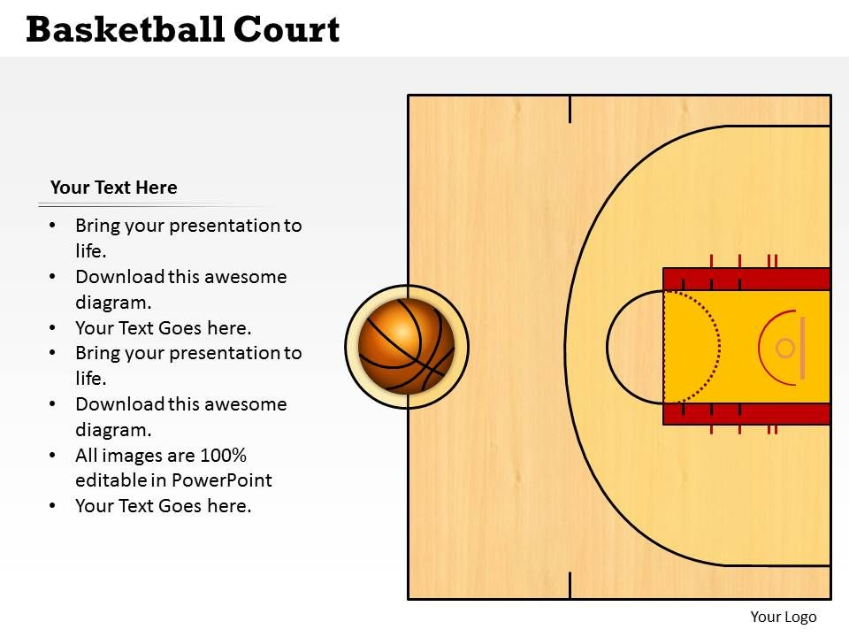 basketball court powerpoint template slide. Black Bedroom Furniture Sets. Home Design Ideas