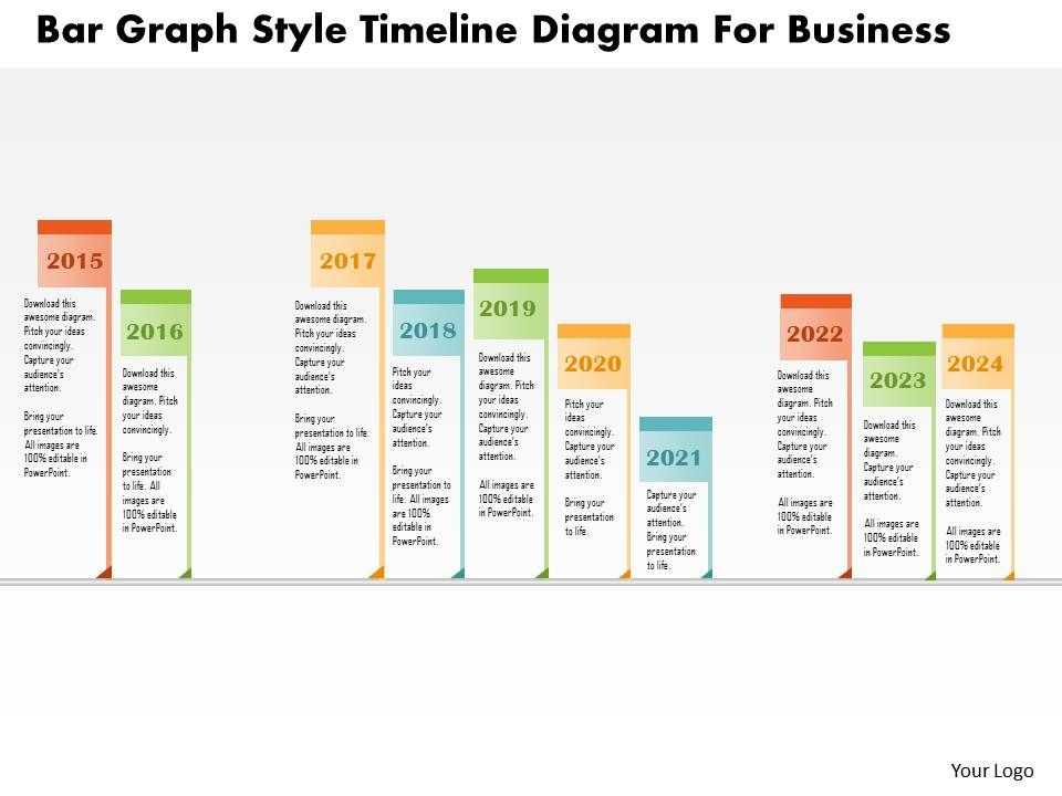 Bc Bar Graph Style Timeline Diagram For Business Powerpoint