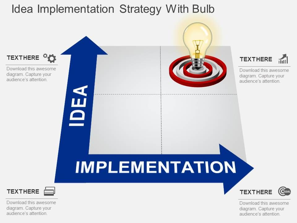 bd idea implementation strategy with bulb powerpoint template Slide01