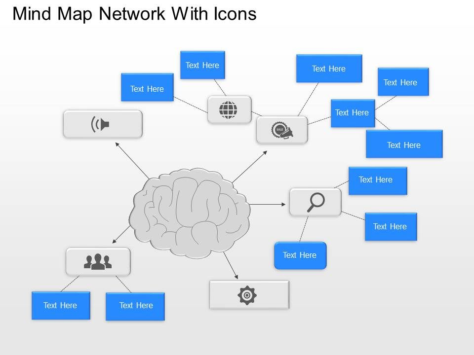 bd mind map network with icons powerpoint template | template, Presentation templates