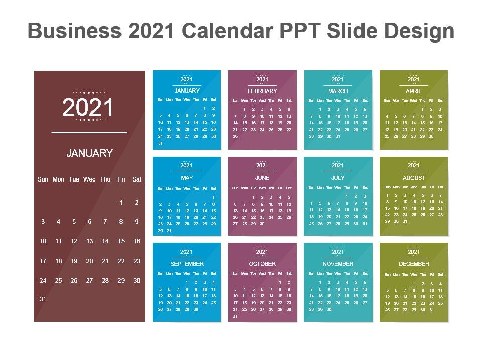 Beautiful 2021 Calendar Design Ppt Slides | PowerPoint