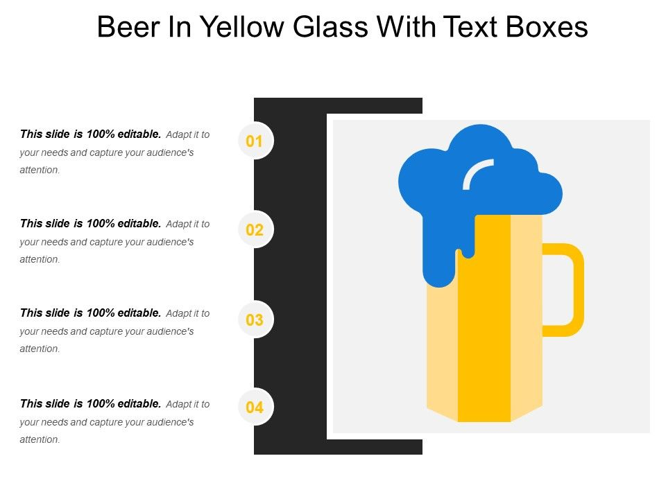 beer in yellow glass with text boxes powerpoint shapes