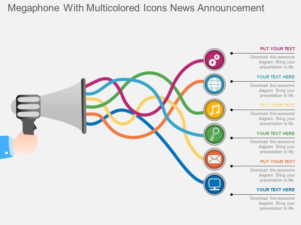 Megaphone Template | Bg Megaphone With Multicolored Icons News Announcement Powerpoint