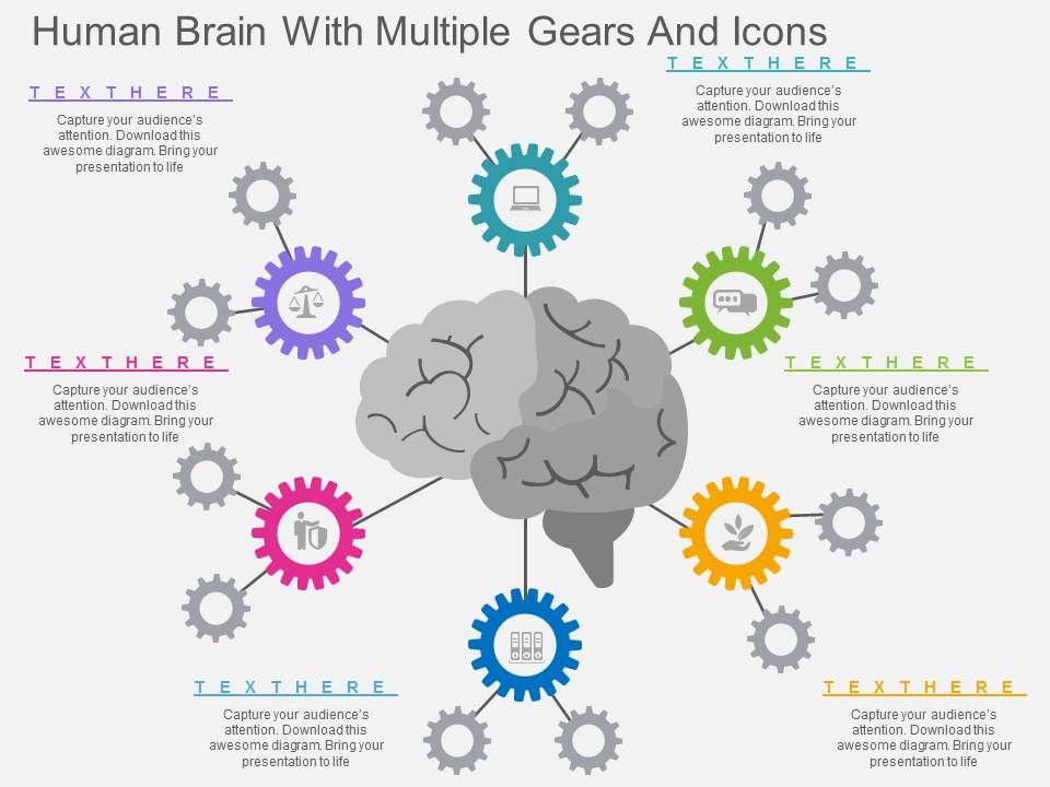 bh_human_brain_with_multiple_gears_and_icons_flat_powerpoint_design_Slide01