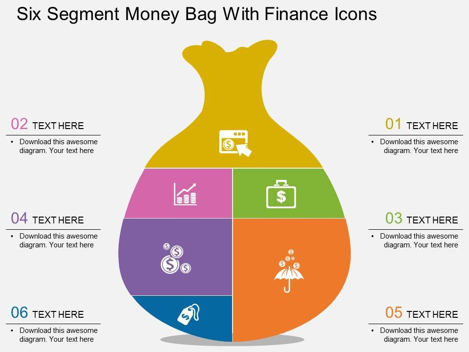 bh six segment money bag with finance icons flat powerpoint design, Powerpoint Plastic Bag Presentation Template, Presentation templates