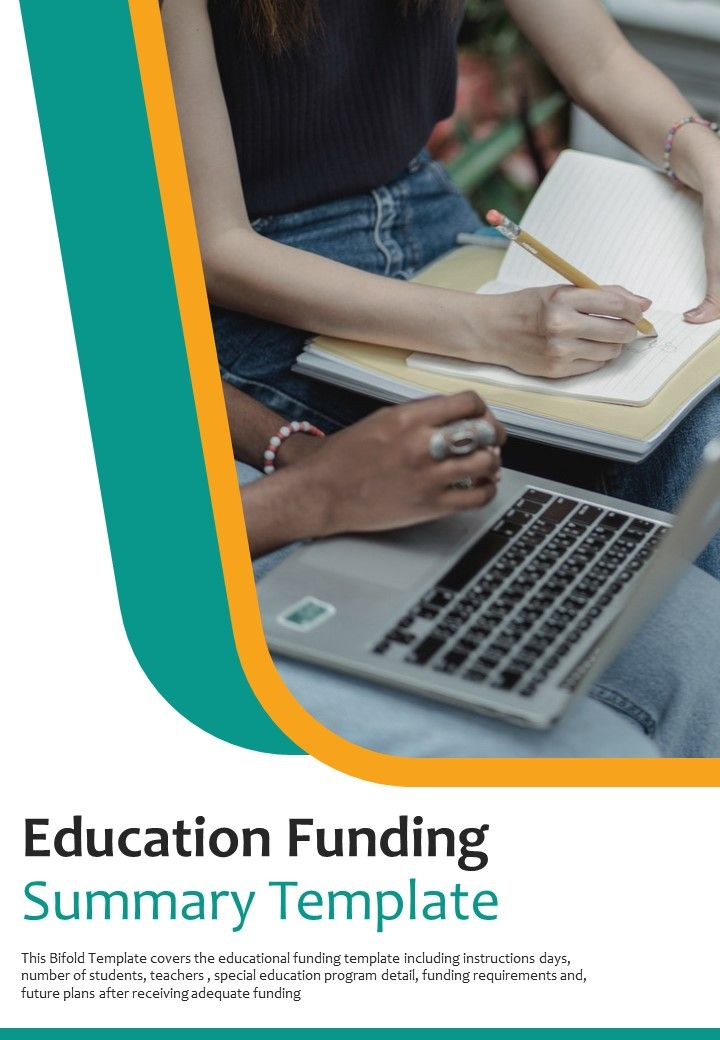 Bi Fold Education Funding Summary Document Report PDF PPT Template