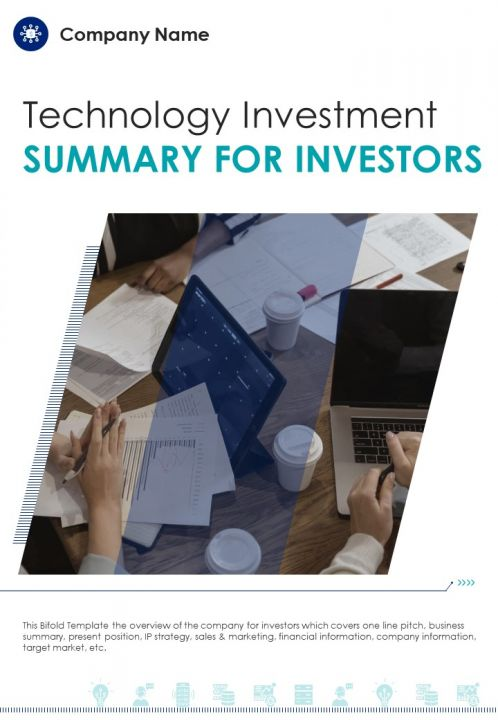 Bi Fold Technology Investment Summary For Investors Document Report PDF PPT Template