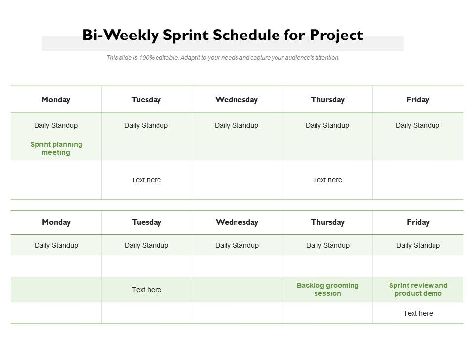 Bi Weekly Sprint Schedule For Project