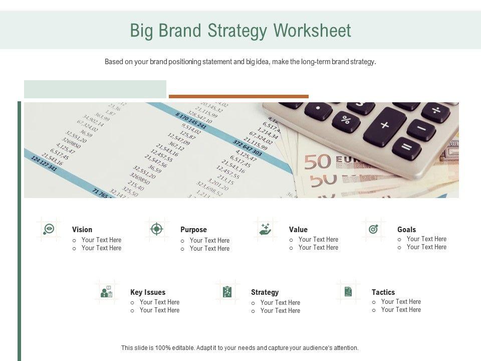 Big Brand Strategy Worksheet Ppt Powerpoint Presentation Inspiration Tips