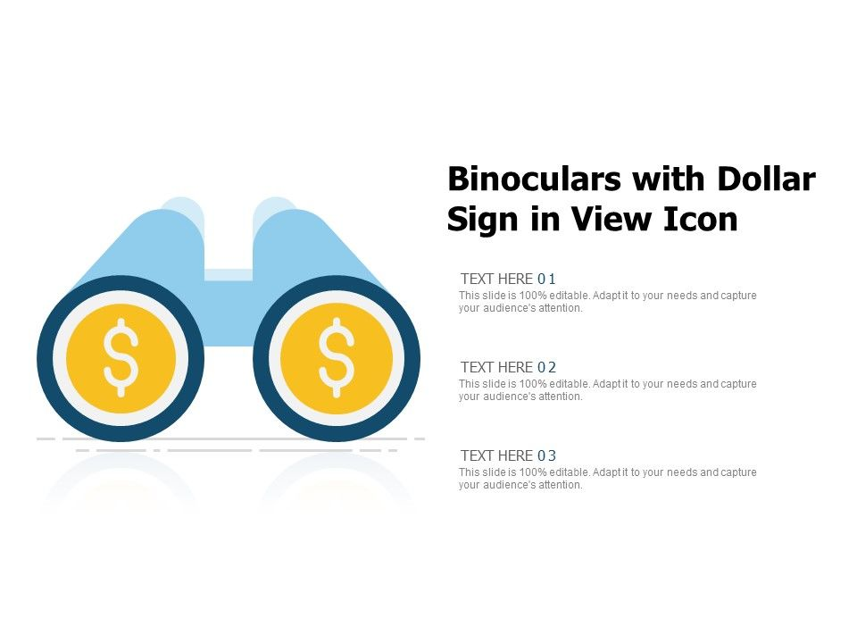 Binoculars With Dollar Sign In View Icon