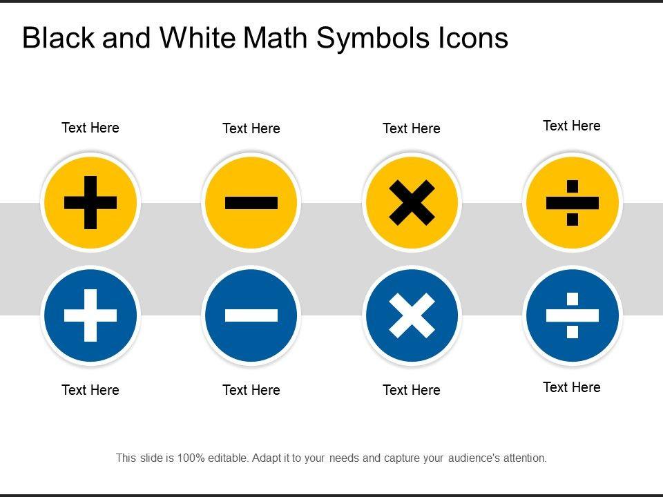 Black And White Math Symbols Icons | Presentation Graphics