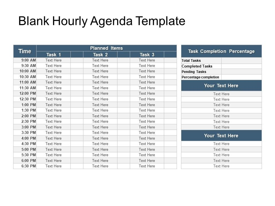 Blank Hourly Agenda Template Sample Of Ppt  Powerpoint Slide