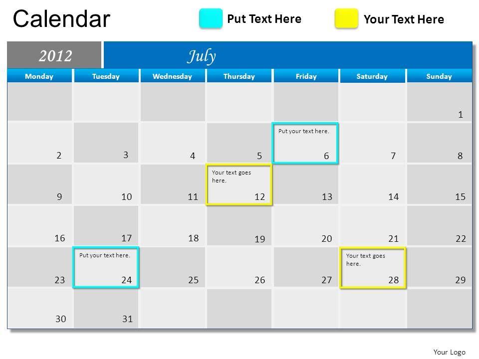 Calendar Art For Powerpoint : Blue calendar powerpoint presentation slides