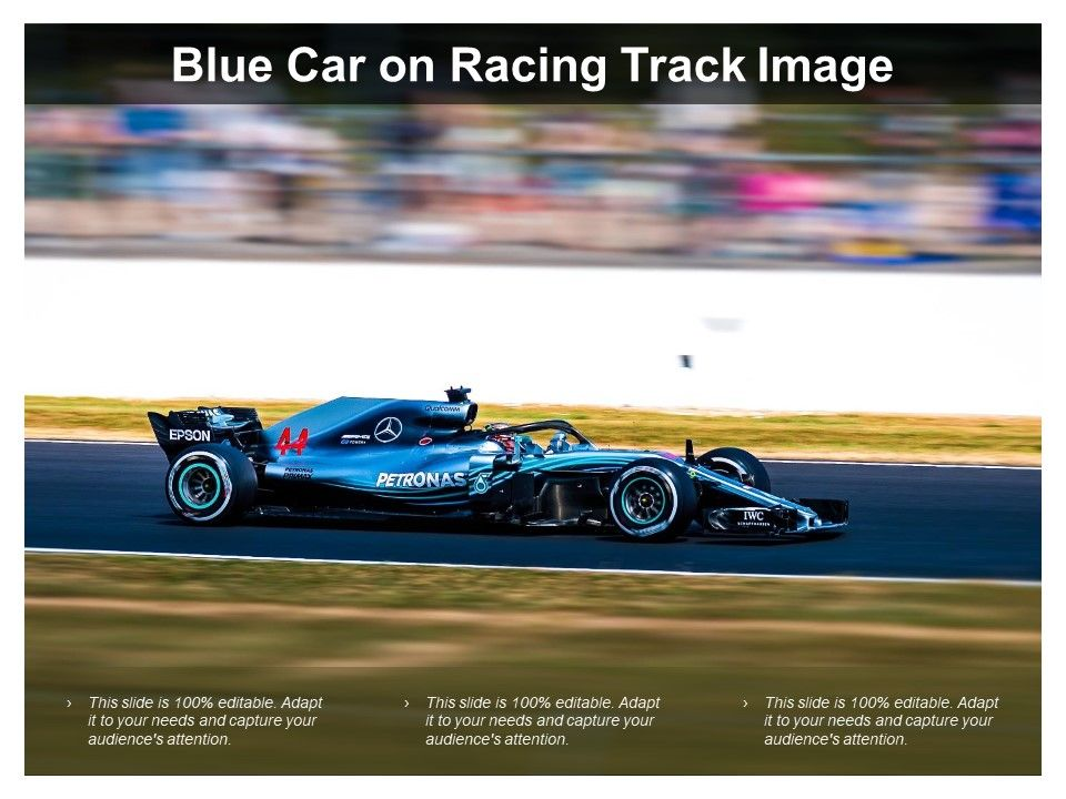 Blue Car On Racing Track Image | PowerPoint Slide Templates