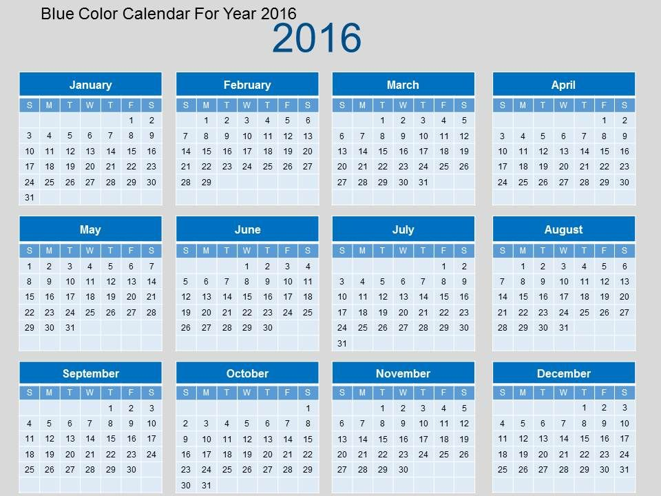 Blue Color Calendar For Year 2016 Flat Powerpoint Design